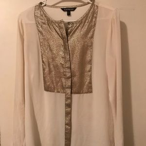 Express Sheer White/Sparkly Gold Button Down Shirt